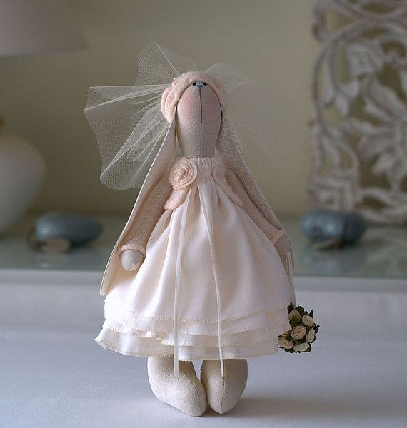 Antoinette Bunny-Rabbit Toy-Hare Toy-Handmade Toy-Textile Toy-Fabric Toy-Home Decoration-Handmade Doll-Wedding Gift-Bride and Groom Gift