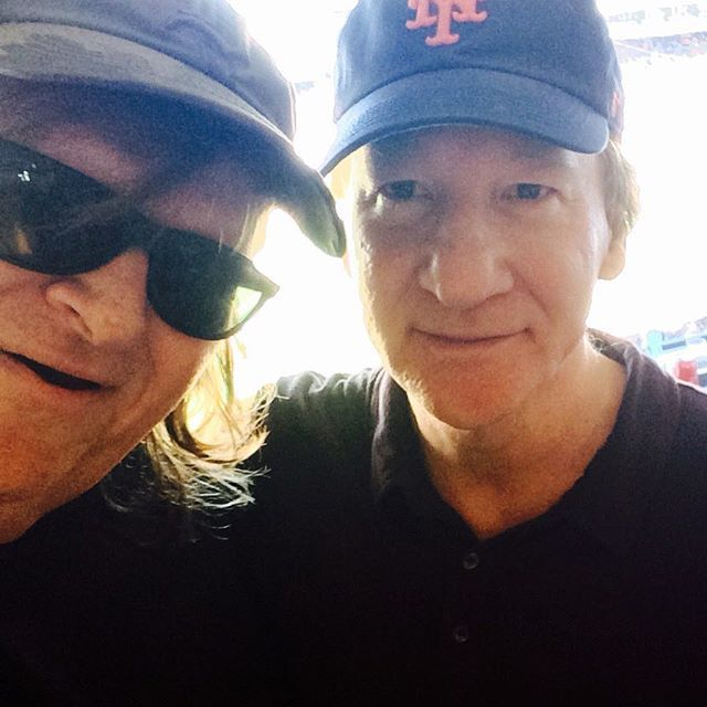 """Blocks from the """"birthplace"""" of Donald J. Trump in Queens (we believe he was actually born in Liechtenstein, but he refuses to show us his birth certificate), Bill Maher and I at the Mets game today, planning the next crazy thing we'll get Trump to say (yes, Bill"""