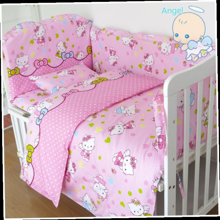 43.08$  Buy here - http://alih1c.worldwells.pw/go.php?t=32278532252 - 6Pcs Hello Kitty cot bumper baby bed bumper Baby cot set Crib Bedding Set Infant bedding kit cotton (bumper+sheet+pillow cover)