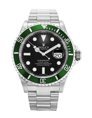 """Rolex Submariner 16610 LV  — The green bezelled Lunette Vert is affectionately nicknamed """"Kermit"""" by collectors!"""