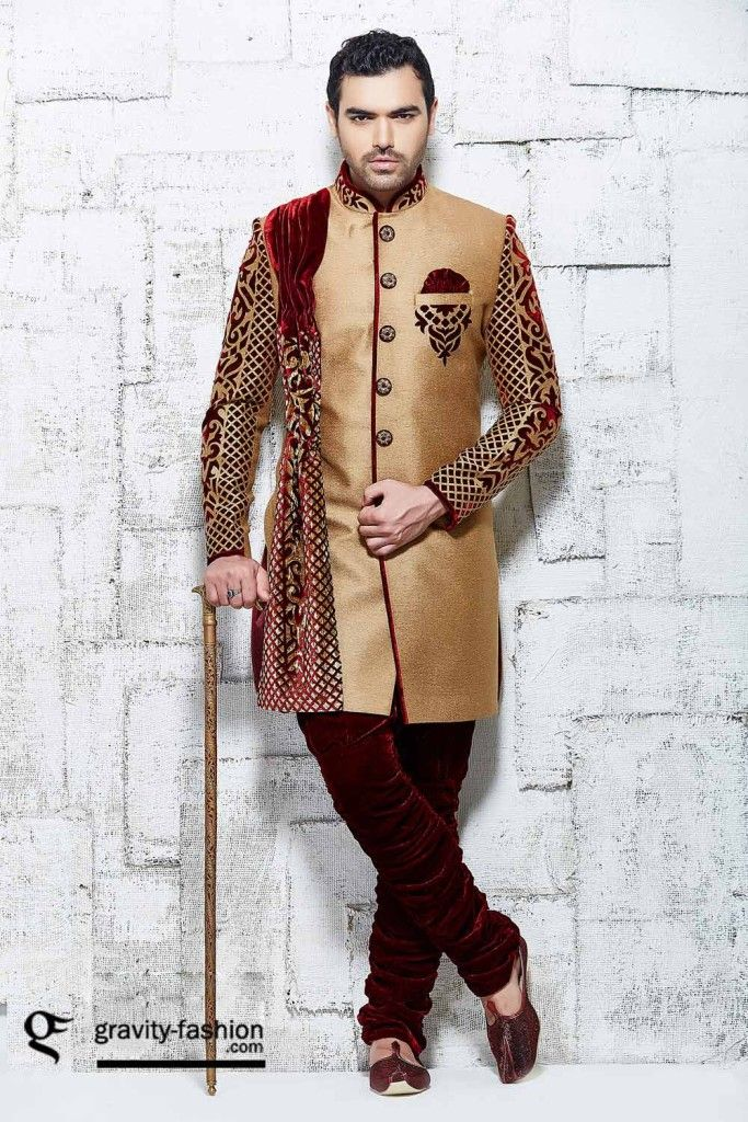luxurious men shervani for wedding 2015, classic groom sherwani 2015 & 2016