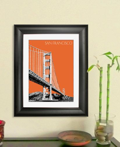 San Francisco Skyline Print - Golden Gate Bridge 2  Poster - San Francisco City Skyline Poster Art Print , 8x10 - Choose your color