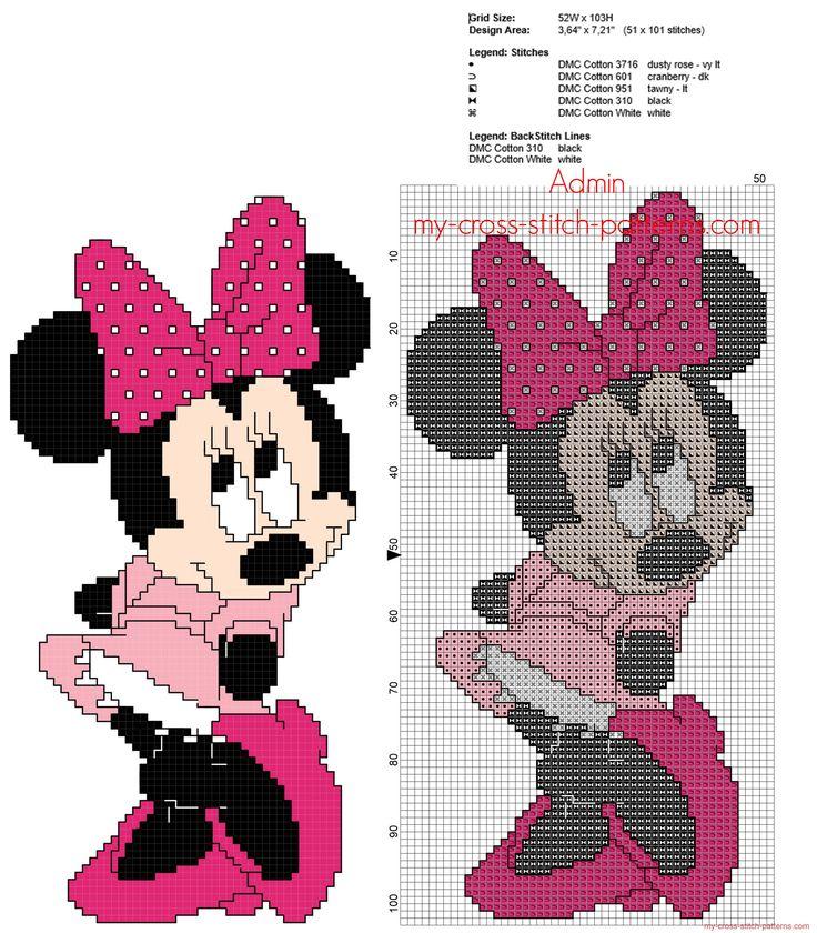 Disney Minnie con il vestito rosa schema punto croce con punto scritto