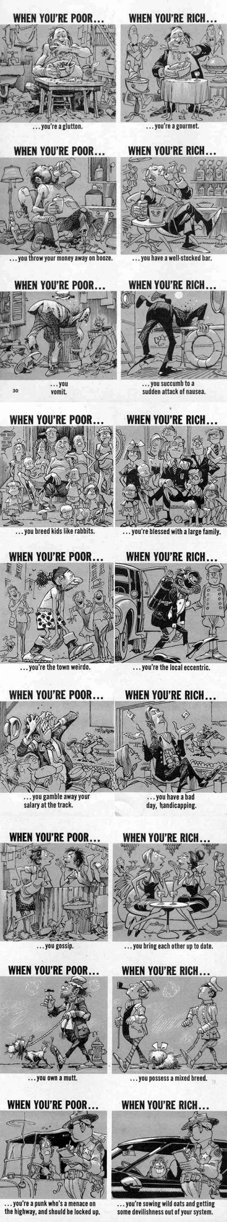When You're Poor... And... When You're Rich (By Cartoonist Jack Davis)