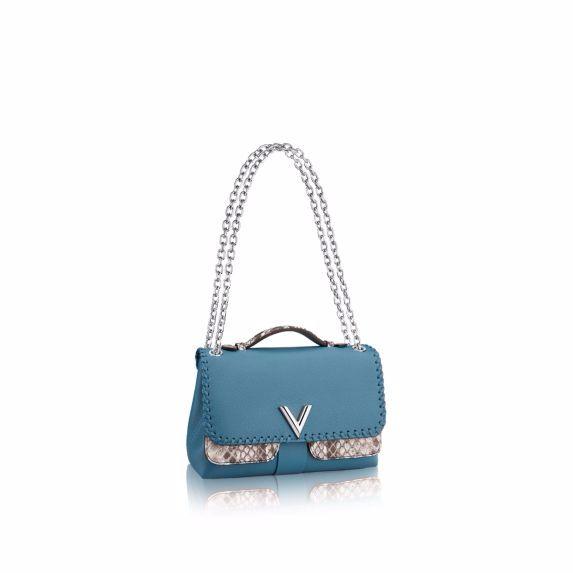 Louis Vuitton Blue Cuir Plume/Python Very Chain Bag