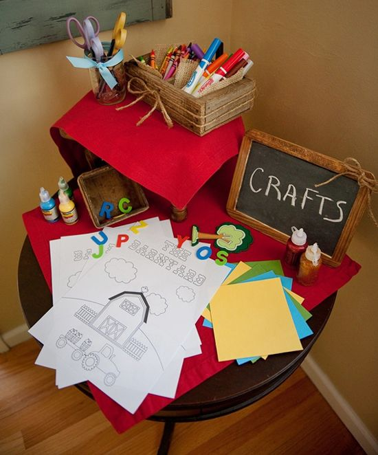 Kids Farm Party Game Ideas - craft table