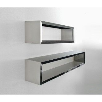 Inox Wall Rack By Maurizio Peregalli For Zeus Stainless Steel Mirror Finish