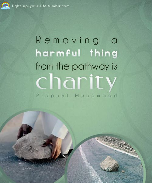 """Removing a harmful thing from the pathway is a charity."" Prophet Muhammad"