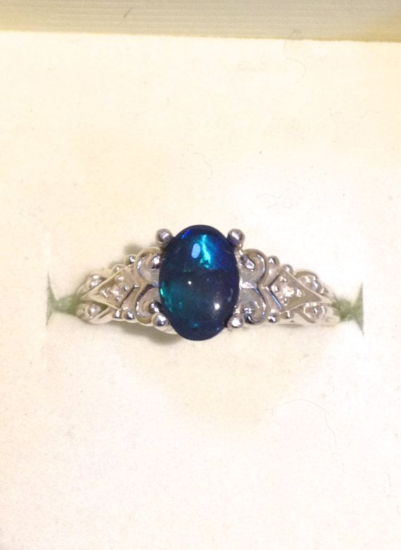 Australian Dark Black Opal Vintage Style Silver Ring with Diamonds    This Genuine Australian Black Opal is the DARKEST of the Black Opals. Really,