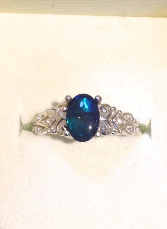 Australian Dark Black Opal Ring - Vintage Style Opal Ring with Diamonds - Genuine Opal Silver Ring - 14K Optional - CUSTOM on Etsy, £180.25