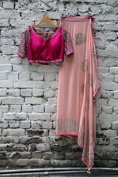 hot pink and peach saree, magenta blouse, silver mirror work, peach pink saree, sequins scattered work