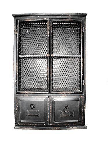 Deko Schrank Schränkchen Kommode Blech Industrie-Design schwarz Höhe 61 cm 2 Schubladen und Tür Decoratie http://www.amazon.de/dp/B016ZY8KVA/ref=cm_sw_r_pi_dp_TMu-wb1VZQSR0