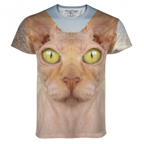 Shaved Pussy Cat all over printed tshirt. #cat #animal #humortee #fashion #sublimation