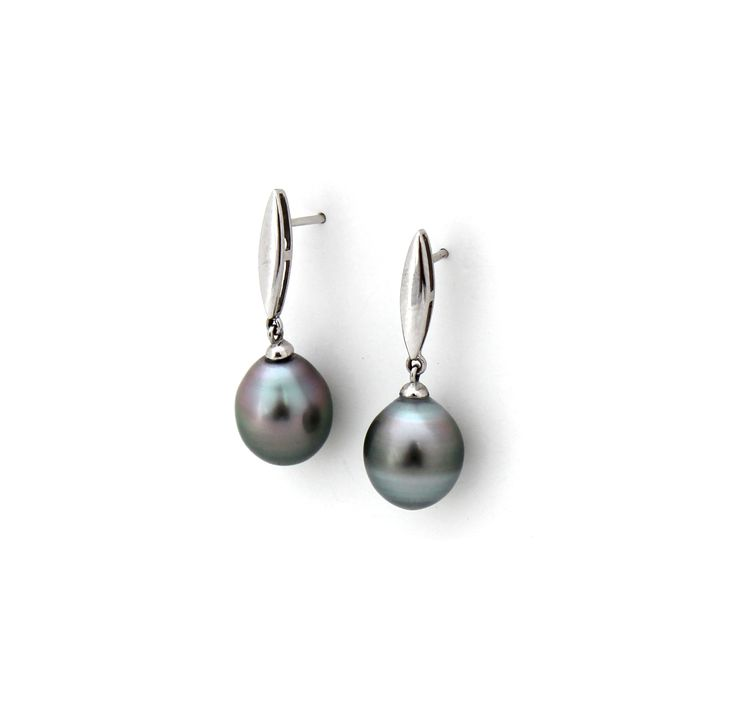 TAHITIAN PEARL EARRINGS | These simple yet stunning earrings are hand picked and paired by Kate McCoy. | Also available in 18kt yellow gold.