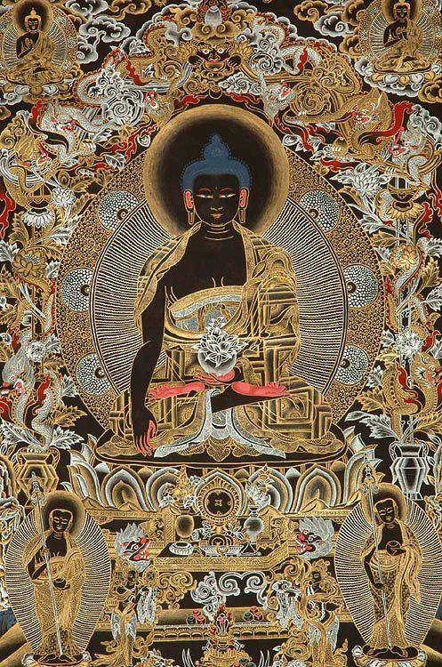 Peinture tibétaine d'un Mandala de Bouddha avec ses 2 principaux disciples Shariputra et Maudgalyayana