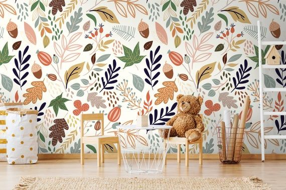 Wallpaper Autumn In The Forest 181 Wallpaper Classic Etsy Teal Wallpaper Room Wallpaper Cool Wallpapers For Walls