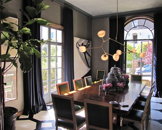 Dark Gray Walls And Navy Curtains Dining RoomsModern