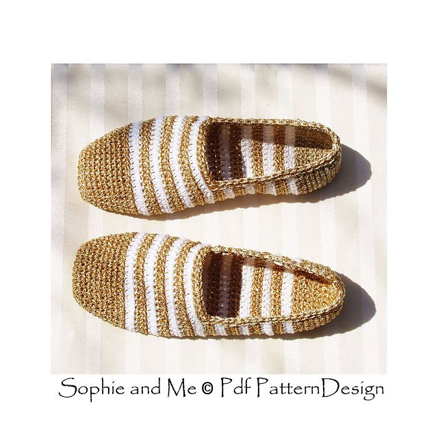 Ravelry: Gold and White Slippers pattern by Sophie and Me-Ingunn Santini