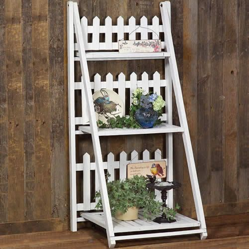 Picket Fence Garden Shelf - very cute for a porch! Can dress this up with little birds, birdhouses, mailbox, or whatever - Sangaree_KS media - #picket #fence #shelf