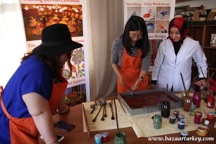 Ottoman Marbling - Ebru Class with our students from China - March 2016 / Istanbul. http://bazaarturkey.com/shop/marbling-ebru-class-istanbul