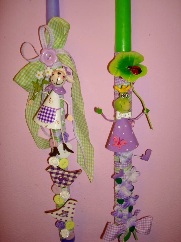Green Purple!!! Easter Lambades/ Easter Candles by Drama Queen Πασχαλινές Χειροποίητες Λαμπάδες