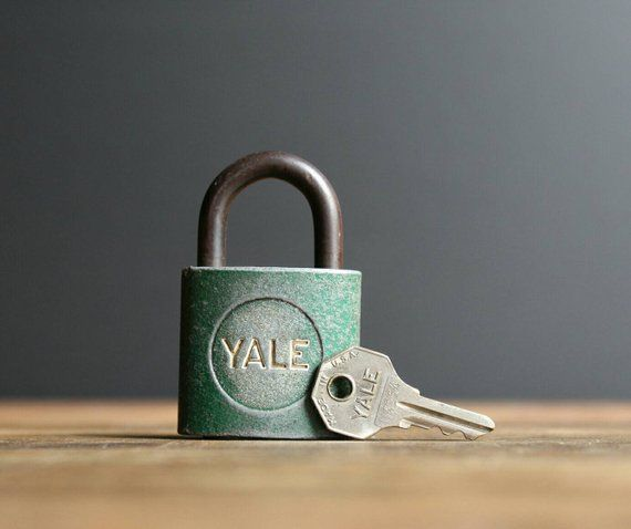 Vintage Yale Padlock With Key Lock Key Green Working