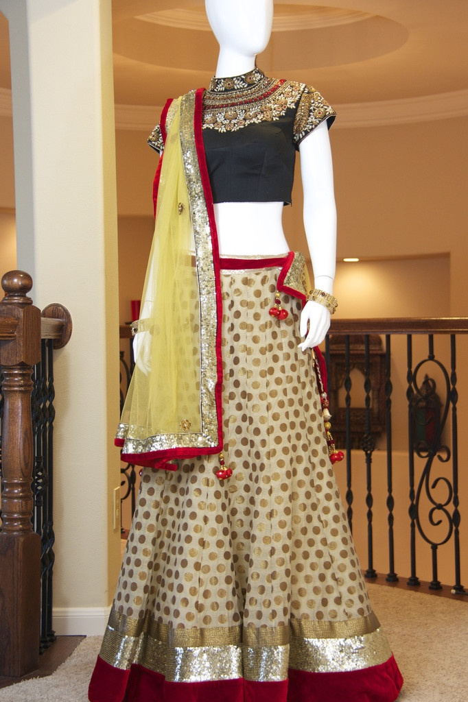 Beige Gold Banarsi Lehenga | Red Paisleys