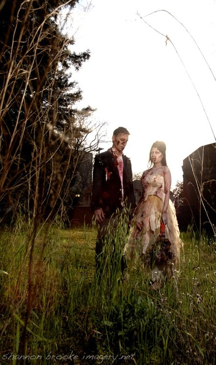 Zombie Wedding.... great idea to have it located in an overgrown field.