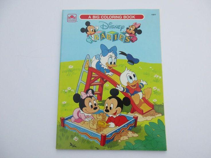 Vintage Disney Babies Big Golden Coloring Book Unused 1986