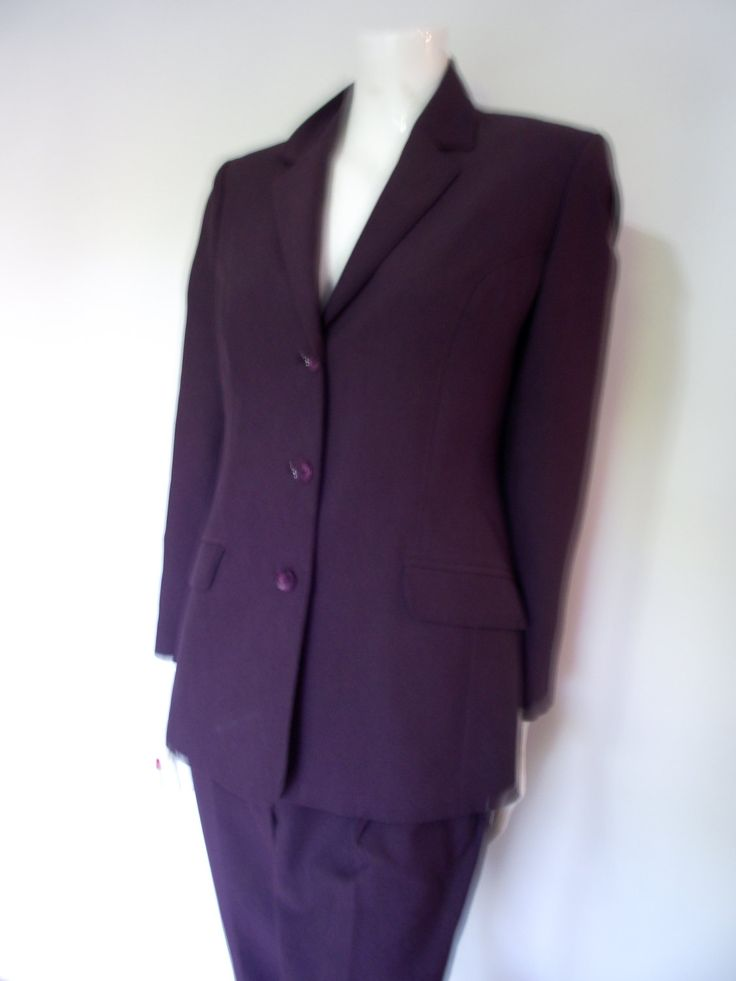 Vintage 90s purple Trouser Suit Pant suit by Classics at Debenhams  size medium UK 10 12 by BidandBertVintage on Etsy