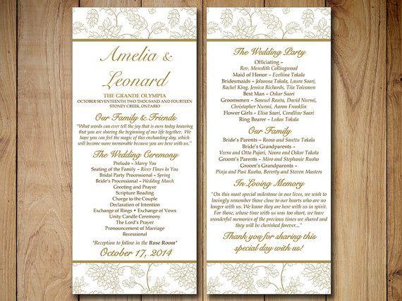 Wedding Program Template Shabby Chic Wild Flower Bouquet Antique Gold Ceremony