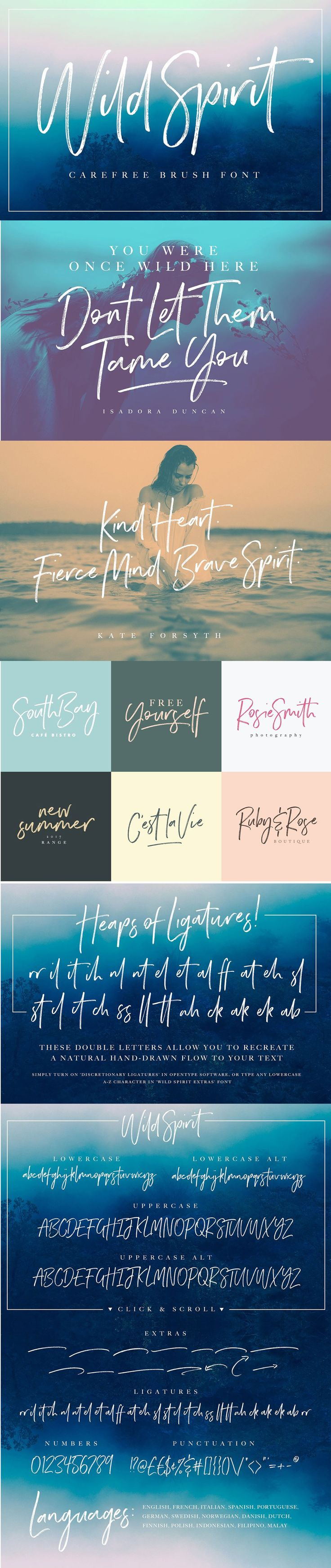 Introducing: Wild Spirit #Font : It's the perfect choice for personal #branding projects, #handwritten #quotes, homeware #designs, product #packaging - or simply as a modern & stylish text overlay to any background image. ( #typography #wedding #photography )