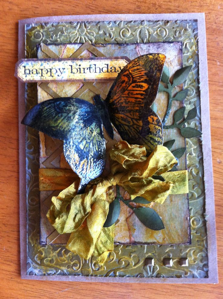 This card uses a Darice EF, Magenta butterfly and the rest is Tim Holtz distress stains, inks and paints. I am on a roll have made six of them. Loving this theme!