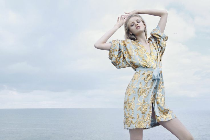 Light blue kimono with gold sequins from Ganni 2014 high summer/pre fall collection