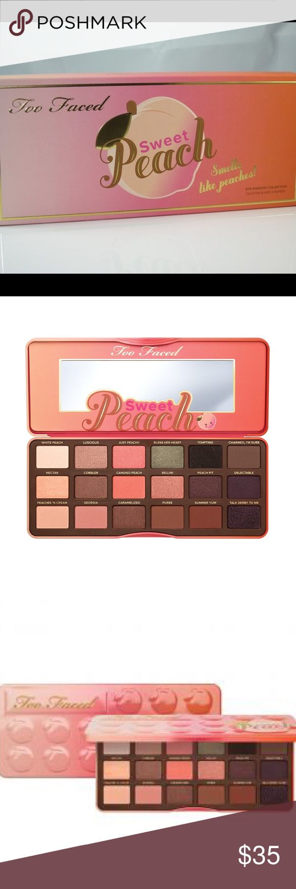New, Too Faced Sweet Peach Eye Shadow Palette. New, Too Faced Sweet Peach Eye Shadow Palette. Very Pretty colors and it smells like peaches 🍑. Not fake Too Faced Makeup Eyeshadow