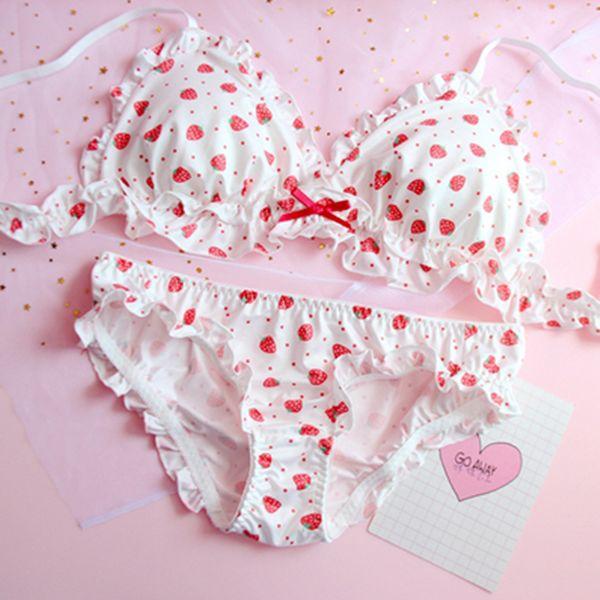 477df578fe8 Cute Strawberry / Heart / Shiba Inu Bra Set YV40256 in 2019   Clothes    Lingerie, Cute underwear, Silk bra