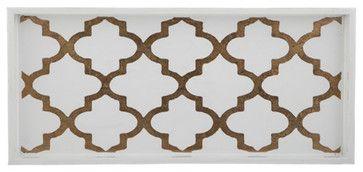 Arabesque Coffee/Cream 2-Drink Tray transitional-platters