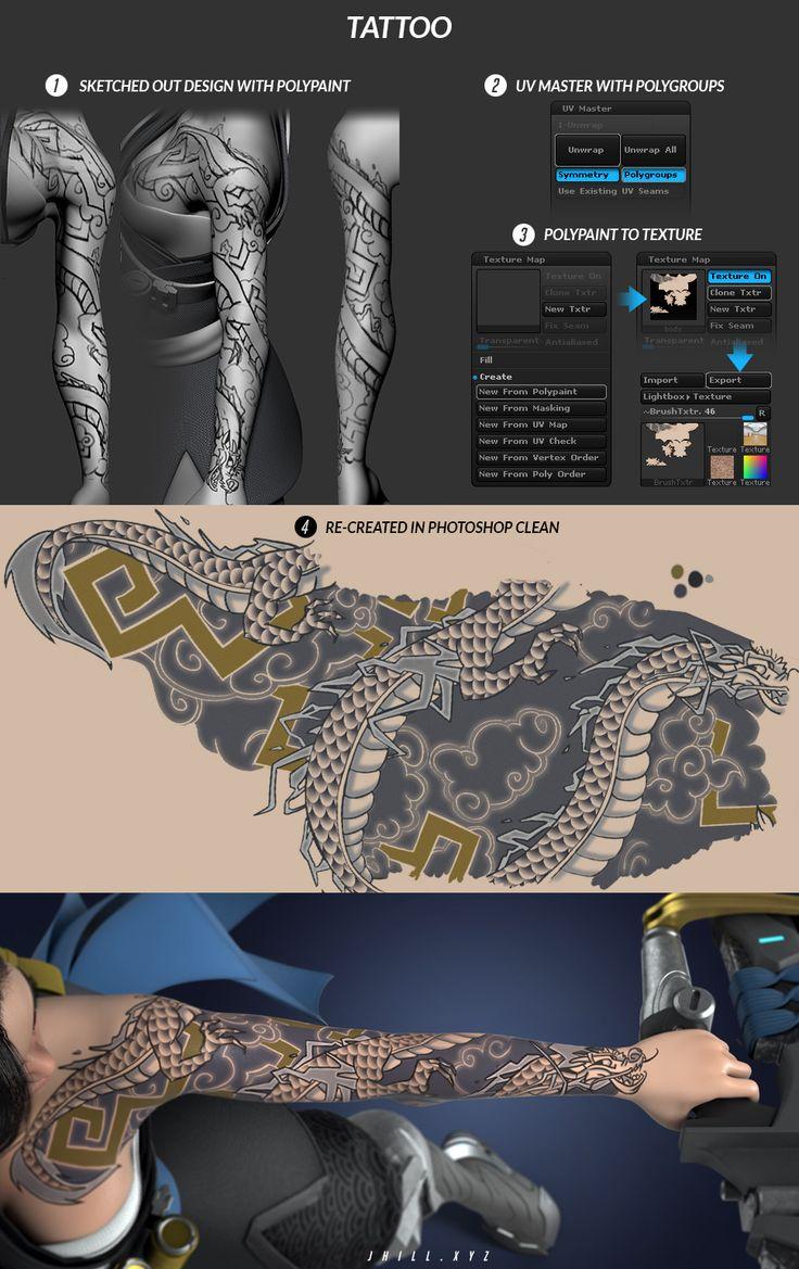 hanza character tattoo zbrush jhill