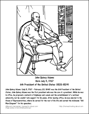john quincy adams worksheets and coloring pages