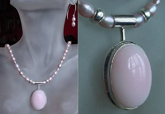 Lavender Color Fresh Water Pearls Necklace c/w Rose by camexinc