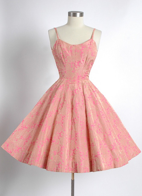 1950's Gold Rayon Taffeta Gored Circle Skirt Party Dress with Pink Silk Screened Print, 50's,1950s