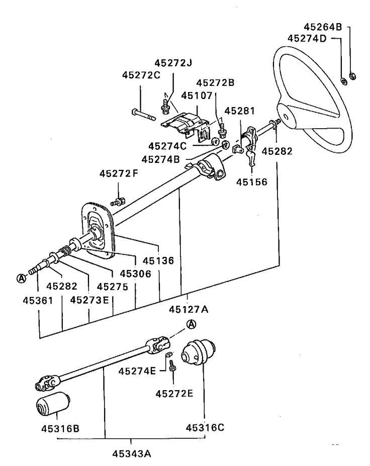mitsubishi l200 bracket steering column tilt lever brass