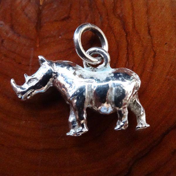 Rhino Full Body Charm. In Sterling Silver or Gold - GoodiesHub.com