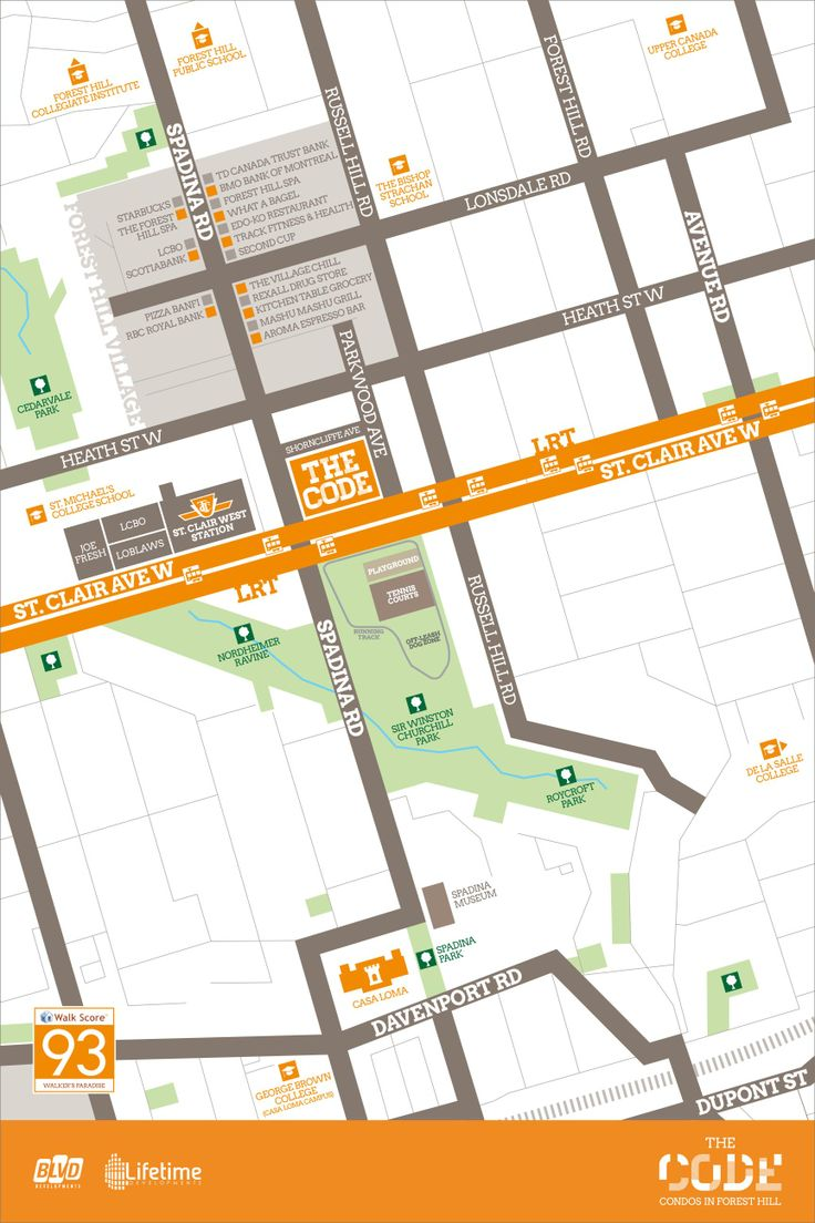The Code Condos amenities map of the Forest Hill neighbourhood.