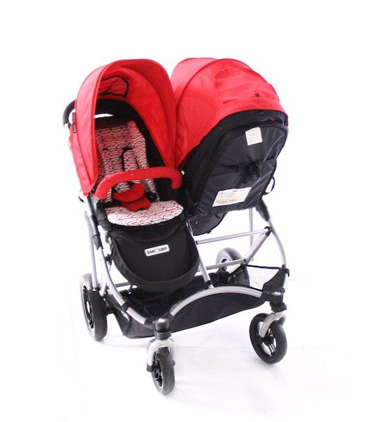 two comfortable seats with padded safety harnessreversible seat configuration…