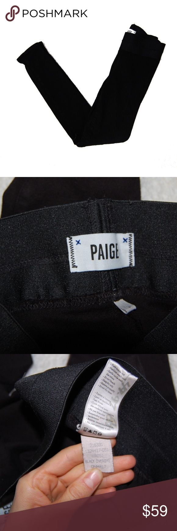 Paige Solid Black Moto Jeans Skinny Jegging S Tight fit Jegging Style Pants Size Small Quality Material In very good condition PAIGE Pants Skinny