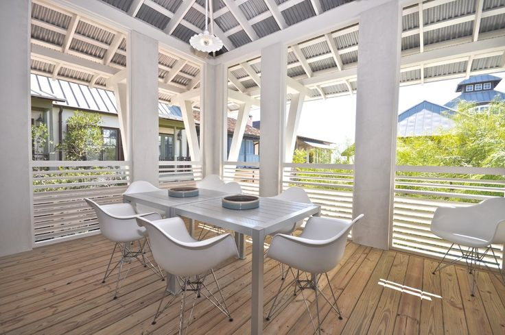 Corrugated tin ceiling patio contemporary with metal roof white rafters rosemary beach wood for Hot tin roof custom home design