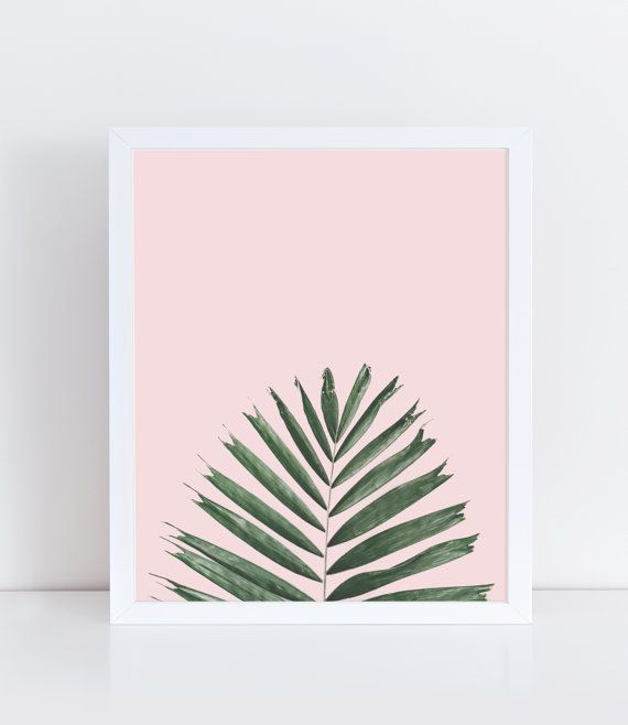 Palm Leaf Printable, Plant Wall Decor, Palm Tree Print, Minimalist and Modern Home Decor, Nature Photography, Nature Print, Pastel Pink.