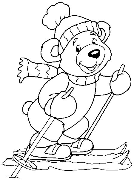 coloring pages of winter animals | winter bear | Coloring pages | Bear coloring pages ...