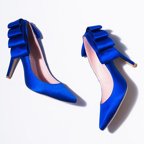 Royal Blue Silk Points With Back Ruffle. Bold And Beautiful. #wedding # Bridal. Bridal ShoesWedding ShoesDream WeddingDesign Your OwnWedding ...